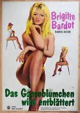 """org. Plakat Poster """"Gänseblümchen wird entblättert"""" 1956 Brigitte Bardot gerollt"""