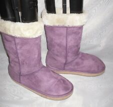 WOMENS PURPLE PULL ON FAUX SUEDE SNOW/WINTER BOOTS SIZE:3.5/36(WB360)