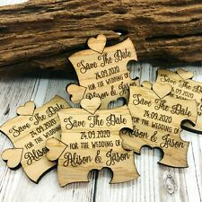 Personalised Rustic Wooden Jigsaw Save The Date Fridge Magnets Wedding Invites