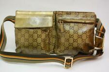 Gucci GG Coated Canvas Monogram Waist Pouch Belt Bum Bag Fanny Pack 0829a