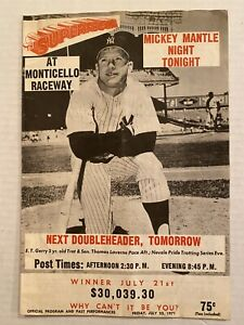 1971 Monticello Racing Program Featuring Mickey Mantle Night