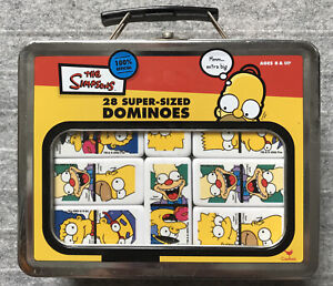 The Simpsons : 28 Super-Sized Dominoes in Metal Lunch Pail : VGC