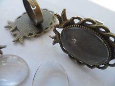 3 Vintage Bronze Bird Doves RING Making Kit, 18x25mm HOBBY Peace,Love Retro