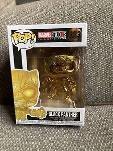 383 Funko Pop Marvel Studios Black Panther Gold 10 Year Bobble Head Vinyl Figure