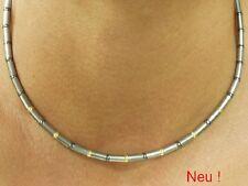 Neu Titan Titanium Halskette Collier Gold Kugel bicolor Silber grau Herren Damen