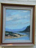 Vintage Australian Oil  Painting Lake Scene  ''The Nepean ' Framed Signed VGC