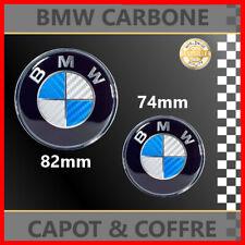*** LOGO BMW CARBONE BLEU BLANC - CAPOT & COFFRE 82mm + 74mm / NEUF ***