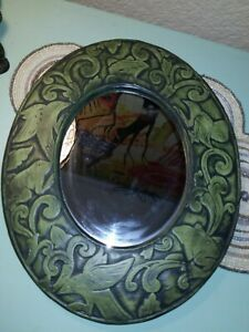 Hand Carved Mirror Frog & Bird Motif Indonesia 12 x15
