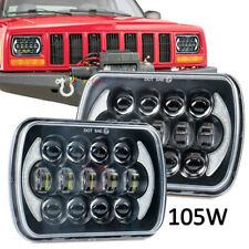 "DOT Approved 2x 105W 5x7"" 7x6"" LED Projector Headlights for Jeep Cherokee XJ YJ"