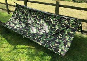 British Army DPM Woodland Camo Pattern Camouflage 2.6m x 2.2m Basha Tarp Shelter
