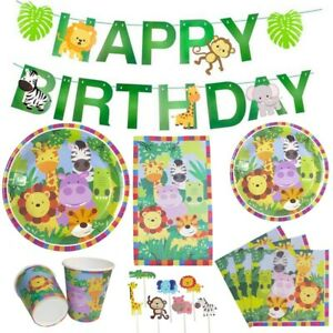 Jungle Animal Kids Birthday Party Tableware Decor Plates Napkins Banner Cups