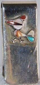 Vtg ZUNI Native American Roadrunner Turquoise Multi Sterling Silver Money Clip