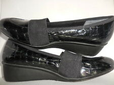 """Ros Hommerson """"Erica"""" Black Croc Patent Wedge Heel  Wo's Size 8 SS (narrow)"""