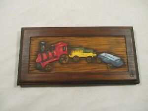 Country Carvings Hand Carved Painted Toy Train Wood Art Decor Plaque