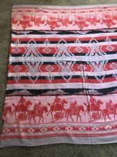 "Vintage Cotton Western Camp Blanket Indians Horses Cowboy 68"""