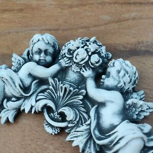 Angels With Flowers Cherubs Vintage Furniture Applique Ornament Black and White