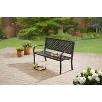 Black Steel Outdoor Garden Bench Metal Frame Patio Backyard Porch Furniture NEW