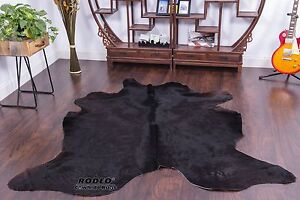 Large Elegant Brazilian Solid Black COWHIDE RUGS Area Rugs Cow skin leather  6x7