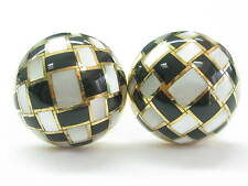 """Tiffany & Co Mother of Pearl & Onyx Earrings 18Kt Yellow Gold 1"""""""