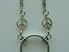 PEACE SIGN STAINLESS STEEL SOLDERED CHAIN EYEGLASS HOLDER LA NECKLACE LOOP RING