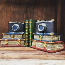 Vintage Camera Bookends Books Shelf Organiser Hand Painted NEW Large Heavy 12504