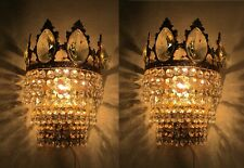 Pair Of Vnt French Real Swarovski Crystal Sconce Aplique Wall Lamp Light 1960s