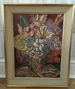 VINTAGE STYLIZED TEXTURAL FLORAL OIL PAINTING CANVAS BLOOMSBURY CHARLESTON LOOK