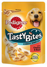 3x Pedigree Tasty Bites Dog Treats Cheesy Nibbles with Cheese & Beef 140g