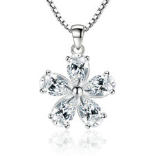 925 Sterling Silver Women AAAA CZ Pear Flower Pendant Necklace For Women Gift