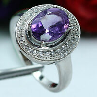 NATURAL 7 X 9 mm. PURPLE AMETHYST & WHITE CZ RING 925 STERLING SILVER