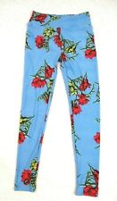 LuLaRoe Womens Leggings OS Blue Floral Stretch Casual Pull On One Size CB3i