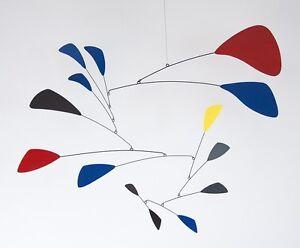 Large Multi-color Mobile Midcentury Modern Sculpture Art hanging metal sculpture