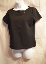 Chaps Black Knit Top Turn Buckle Clasps at Shoulder Size S