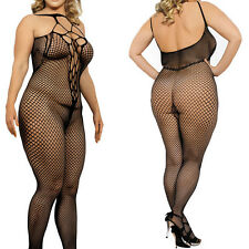 Black Halter Bodystocking Pothole Core Fishnet Stockings Lingerie Pantyhose M-XL