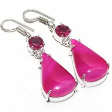 "Handmade 925 Silver Earring 2.2"" Pink Lace Agate, Tourmaline Gemstone"