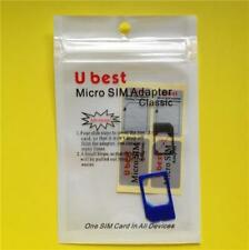 BLUE Micro Sim Adapter: Apple iPhone 4/4S + iPad 1/2/3/4 Card Converter/Holder