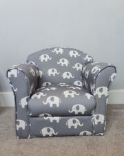 Children's Kids Armchair Grey with White Stars Girl Boy Seating Chair Bedroom...