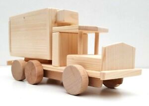 Wooden Toy Ambulance with door at rear handmade natural toy