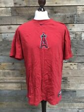 NIKE Mens Red Cotton T-Shirt Size L Los Angeles Angels Batting Practice Baseball