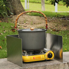 Outdoors Stove Windshield Camping Cooking Windscreen Folding Camping Cooker W5C2