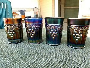 NORTHWOOD COBALT BLUE SET OF 4 GRAPE AND GOTHIC ARCHES TUMBLERS- ALL PERFECT