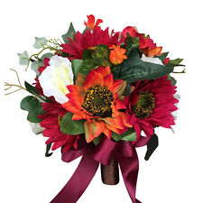 Elegant Bridal bouquet-perfect for Fall and Winter weddings.Burgundy Orange