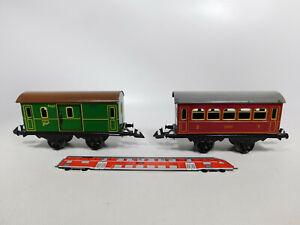 CR580-0,5# 2x Bing Spur 0 Blech-Personenwagen/Postwagen: 5551 + 5552