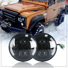 For Land Rover Defender 90/110 7'' Round Led Headlight W/Y DRL Driving Light