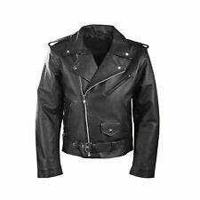 Homme Noir Classique Moto Perfecto Brando Vachette Veste en Cuir Motard UK