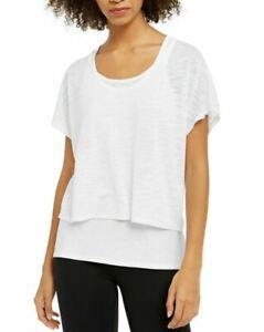 Ideology Women's Printed Burnout Layered Athleisure T-Shirt, Size M, white a4