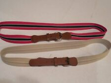 2 Vintage MENS BELTS STRIPED CLOTH & LEATHER Red White Blue - Taupe Stone Cream