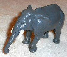 "Gray ELEPHANT Figurine White Tusks Kong Kong 3"" tall x 4 1/2 Stamped NF Vintage"