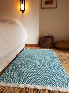 Premium Scandi style Teal Chevrons Rugs Reversible Cotton Medium Very Large rugs