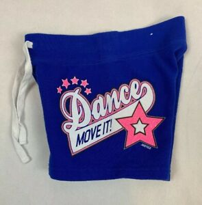 Justice Girls Dance Drawstring Shorts Blue Size 6 Glitter Star Free Shipping EUC